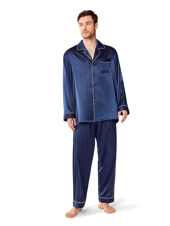 SIORO Mens Silk Satin Pajama Sets,Long Sleeve Button Down Sleepwear Loungewear M-XXL