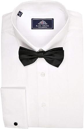 Rael Brook Hombre Puño Doble Vestido Manga Larga Camisa en Blanco