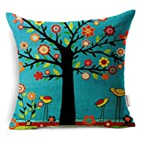 Decorative Pillow Cover - Oil Painting Black Large Tree and Flower Birds Cotton Linen Throw Pillow Case Cushion Cover Home Sofa Decorative 18 X 18 Inch (Black)