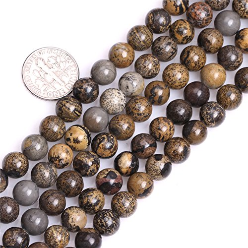 Frederick A. Farley 8mm Natural Round Brown Artistic Jasper Gemstone Semi Precious Beads for Jewelry Making 15