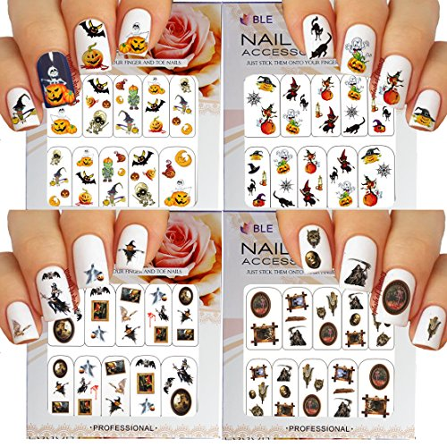 Halloween Nail Art Water Slide Tattoo Stickers Decals Fun and Scary - Pack of 4 -