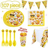 Emoji Birthday Party Decorations Betheaces Emoji Party Supplies 107 Piece Birthday Decorations Emojis Paper Plates for Kids Boy Girl Disposable Tableware Cake Topper Set,Napkins,Banner,Serves 20