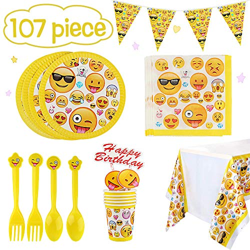 Betheaces Emoji Party Supplies 107 Piece Birthday Decorations Emojis Paper Plates for Kids Boy Girl Disposable Tableware Cake Topper Set,Napkins,Banner,Serves 20