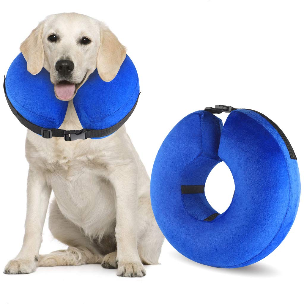 Protective Inflatable Cone Collar for Dogs and Cats, Soft Pet Recovery E-Collar Cone Small Medium Large Dogs, Designed to Prevent Pets from Touching Stitches by LIPET