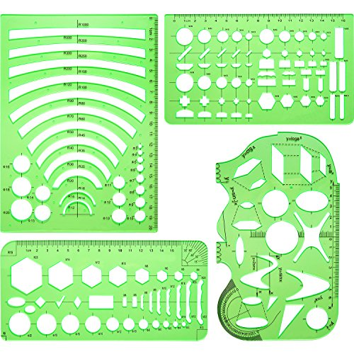 Frienda 4 Pieces Clear Green Plastic Measuring Templates Geometric Rulers Digital Drawing of Hollow Geometry Shapes for Office and School, Building Formwork, Drawings (Oval Shape Template)