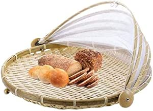PENGQIMM Bamboo Tent Basket,Hand-Woven Serving Basket with Tent,Fruit Vegetable Bread Storage Container, Outdoor Picnic Food Cover Mesh Tent with Gauze(Bug- proof, Dust-proof) (40 CM)