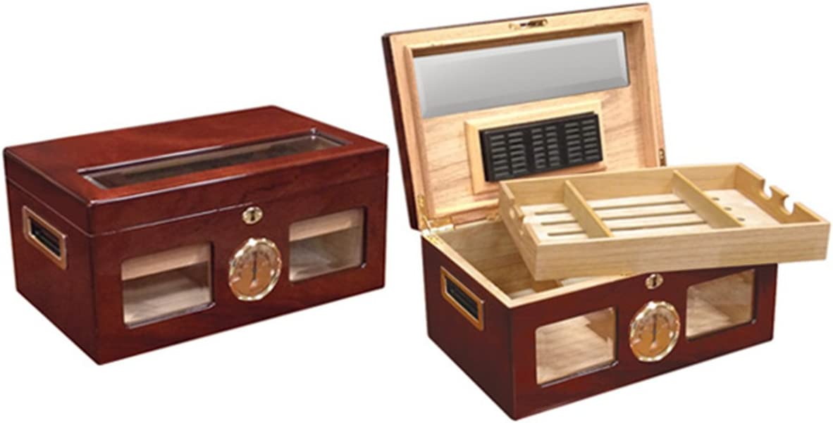 Prestige Import Group - The Valencia Glass Top Cigar Humidor - Capacity: 120 - Color: Cherry