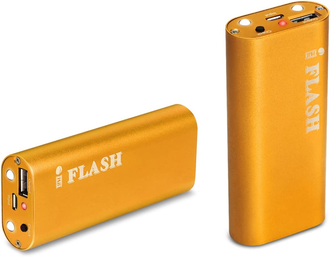 iFlash 5000mAh Aluminum Housing Slim External Battery Charger with Built-in Flashlight for Apple iPhone Xs/MAX/XR/X / 8 Plus / 8/7 Plus / 7 / 6S 6 Plus / 5S/5C/5 (iPhone Cable NOT Included)