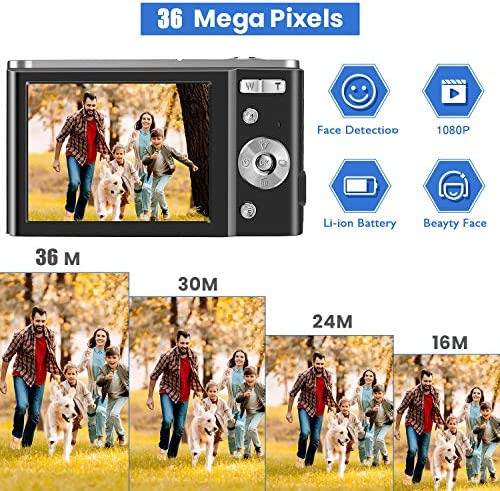 TOBERTO HD Digital Camera, 1080P Vlogging LCD Mini Camera with 16X Zoom 36MP Digital Point and Shoot Camera Video Camera, for Kids Students Beginners Beauty Face