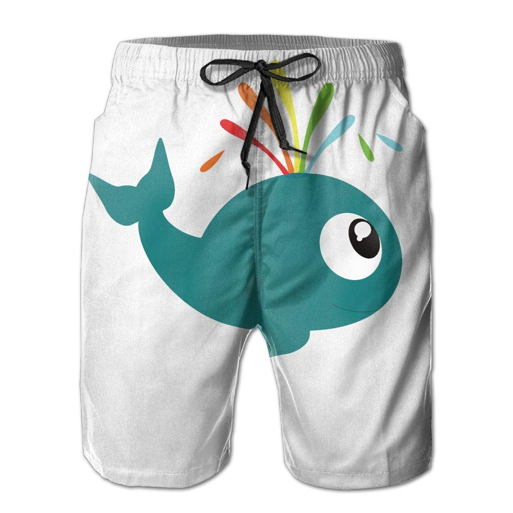 DELIDAA Funny Whale All Be Fine Men's Boy Casual Quick-Drying Beach Pant Swim Board ShortsXX-Large