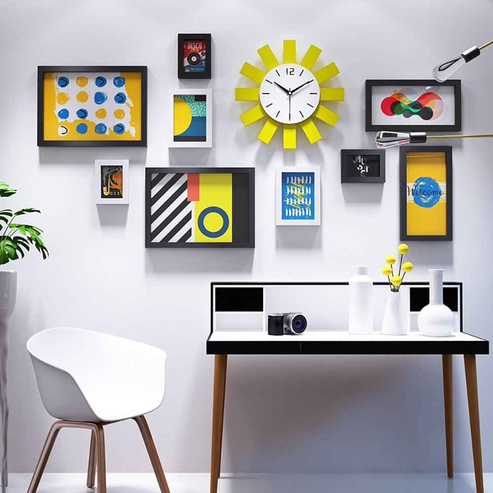 Photo wall minimalist combination photo frame wall sun clock decoration painting modern photo wall 5 Inch 7 Inch 14 Inch ( Color : Blue and white )