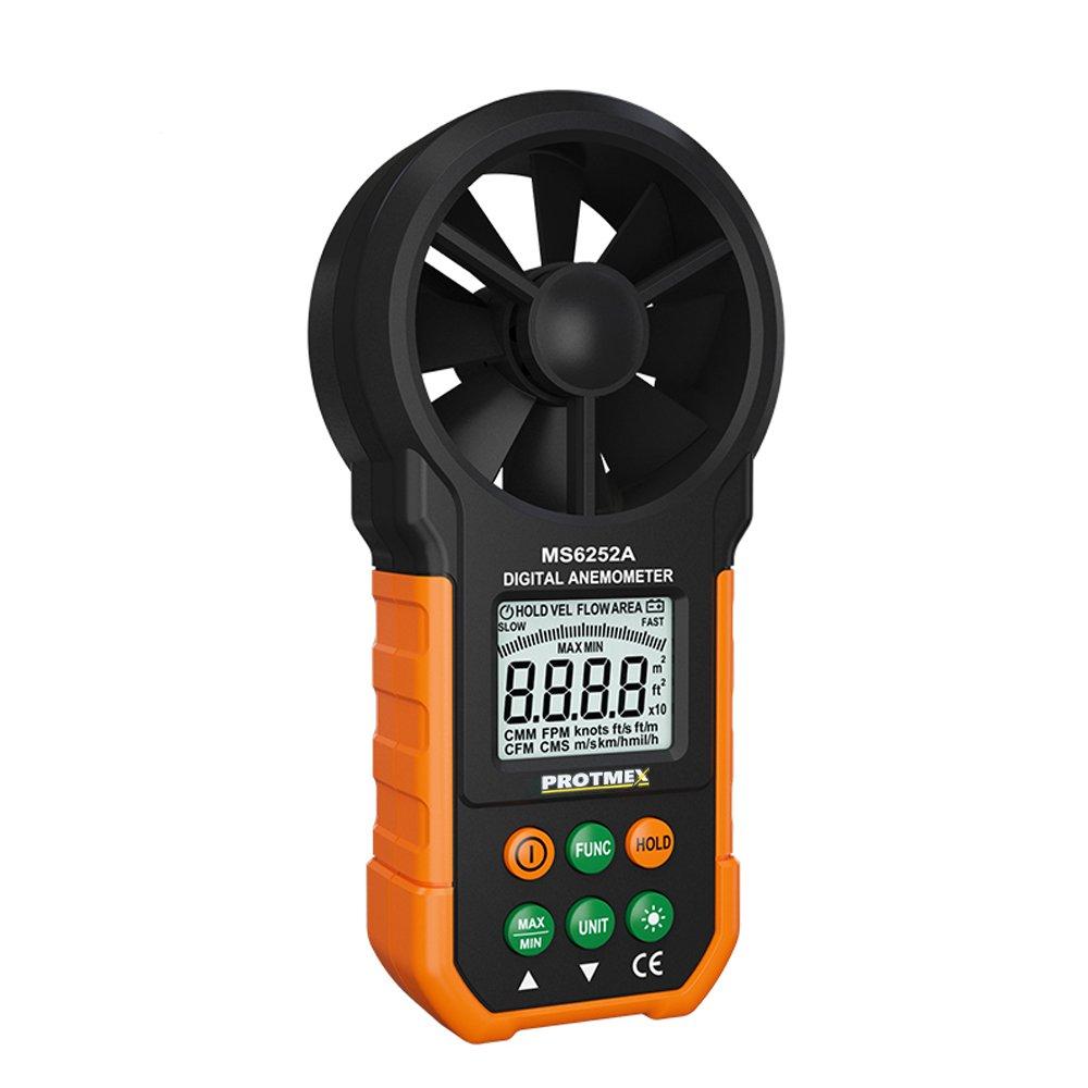 Protmex Portable Digital Anemometer, MS6252A Handheld Wind Speed Meter Gauge Air Volume Meter Air Velocity Measuring Flow Meter Backlight