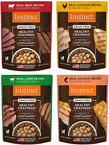 Nature's Variety Instinct Healthy Cravings Grain-Free Meal Topper for Dogs Variety Pack, 4 Flavors (Chicken, Beef, Salmon & Lamb), 3 oz Pouch, 12 Total Pouches Review