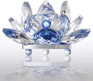 """Zoogamo 5"""" Blue Crystal Lotus Flower – Glass Home Decor for Feng Shui with Clear Reflection & Gift Box"""