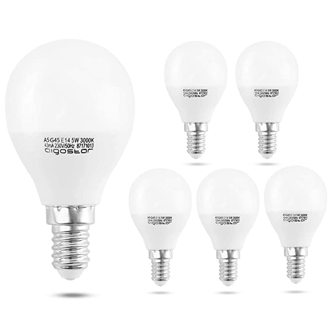 Aigostar - Bombilla LED A5 G45, E14, 5 W equivalente a 40 W, Luz calida 3000K, 400 lúmenes, no regulable - Pack de 5: Amazon.es: Iluminación