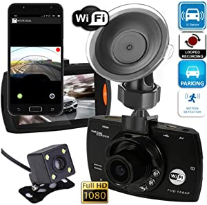 Car Dash Cam 1080p HD, Rear View Dual Camera, Wi-Fi Option, Parking Mode, Night Vision, G-Sensor