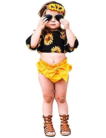 5445c122a8de Amazon.com: Argonv 2Pcs Cute Baby Girl Sunflower Outfit Set Long Sleeve Crop  Top+Bowknot Shorts Toddler Clothes Set Summer: Clothing