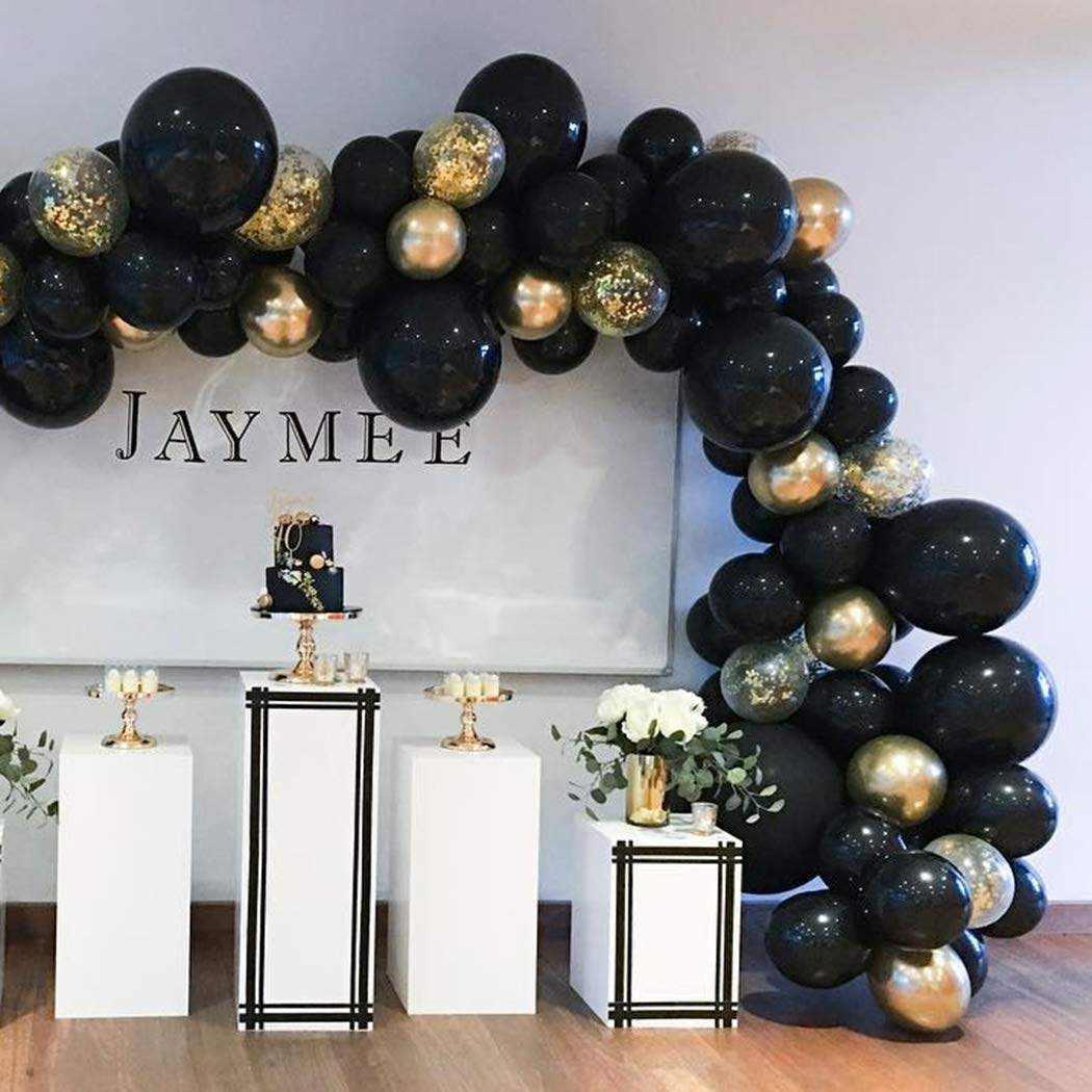 Beaumode DIY Black&Gold Balloon Garland Arch Kit 82pcs Balloons for Birthday Bachelorette Wedding Photo Booth Backdrop Bridal Shower Centerpiece Graduation Anniversary Party Decoration