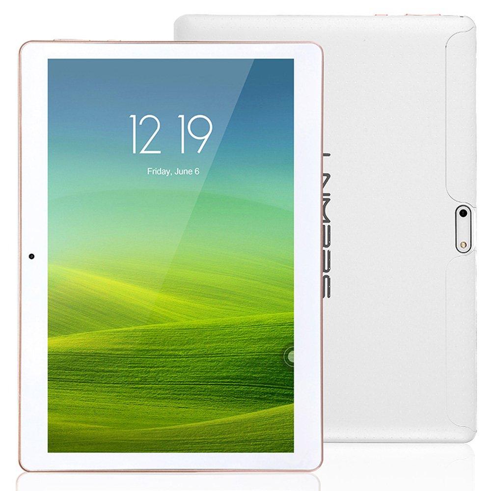 Lnmbbs 3G/WIFI Tablet 10 Pollici (10.1''), con Funzione Telefono, Quad Core (1.3GHz), RAM 2GB, Capacità 16GB, GPS, OTG Supporto (Bianco) Capacità 16GB
