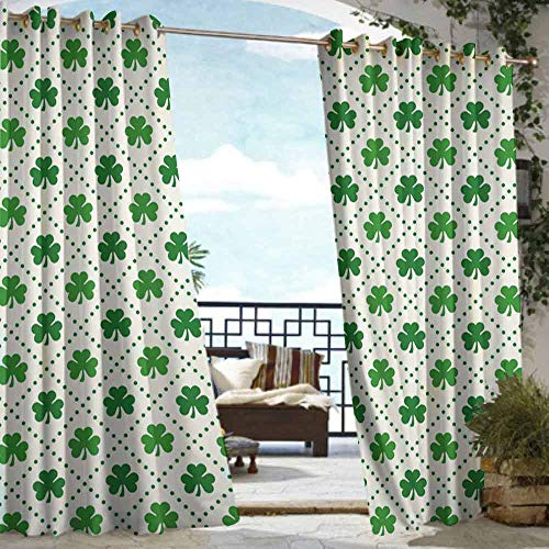 DILITECK Curtains for Bedroom Irish Four Leaf Shamrock Clover Flowers with Dotted Dashed Lines National Culture Symbol for Patio/Front Porch W96 xL84 Green ()