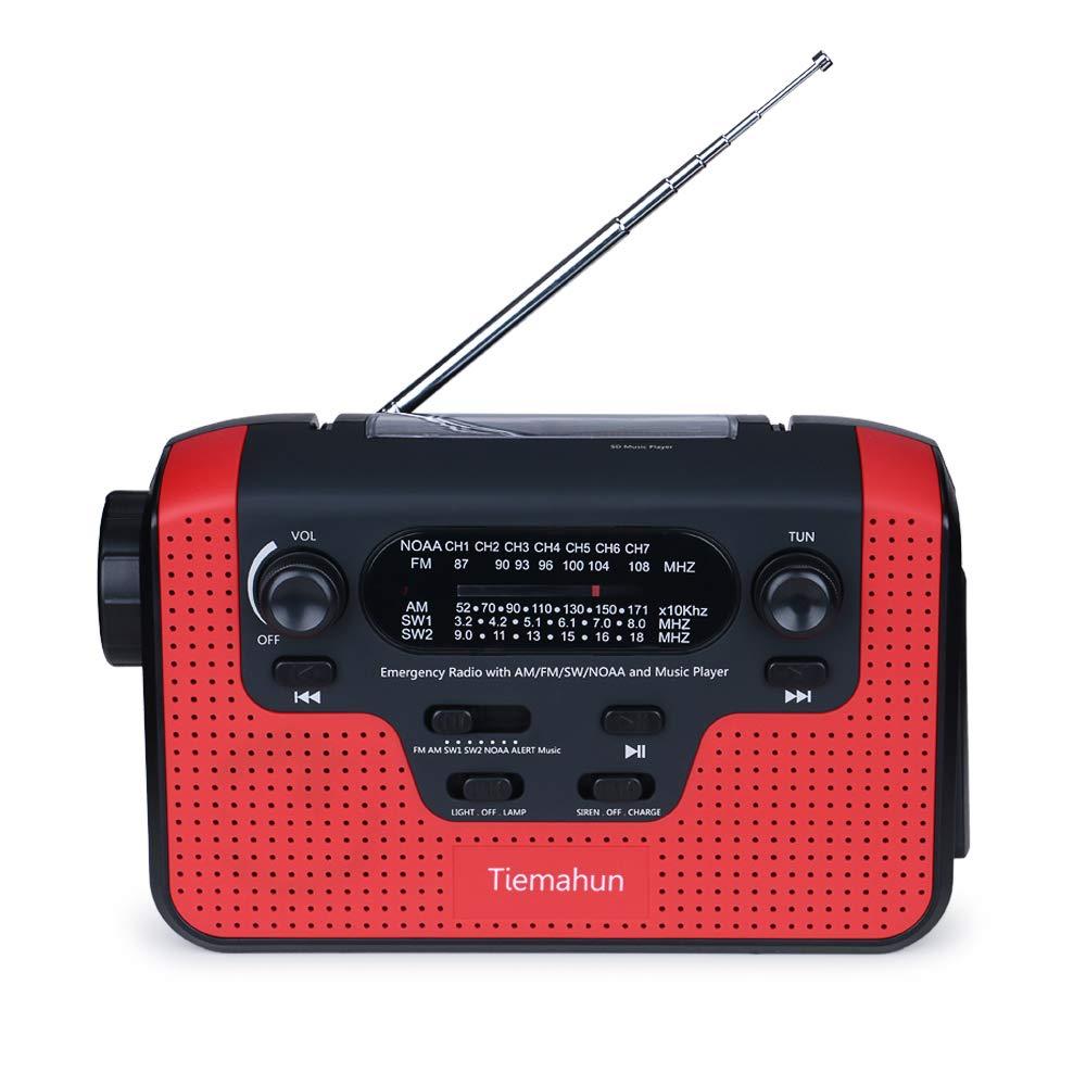 Tiemahun NOAA Weather Alert Emergency Radio WB/FM/AM/SW, Solar/Hand Crank Windup, MP3 Music Radio, 2300mAh Mobile Phone Charger LED Flashlight Reading Lamp TF Card Speaker (Red)