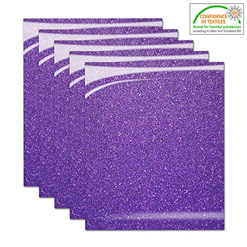 Pumpkin Brother Purple Shiny Glitter Heat Transfer Vinyl Iron On HTV Bundle for DIY Clothes, 12x10 Inch, Pack of 5 Sheets, Eco-Friendly Made in Korea