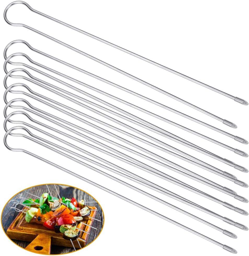 saucisses piques /à crevettes Argent/é ma/ïs FAVENGO Lot de 8 brochettes /à double barbecue 31 cm en acier inoxydable pour barbecue