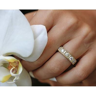 Amazon Com Milgrain Framed Five Diamond Ring 14k Yellow Gold Jewelry