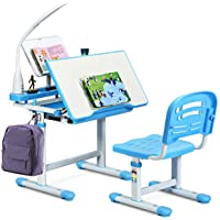 Baby Joy Kids Desk and Chair Set, Height Adjustable, Kids Study Table with Book Stand, Pull Out Spacious Storage Drawer (Blue)