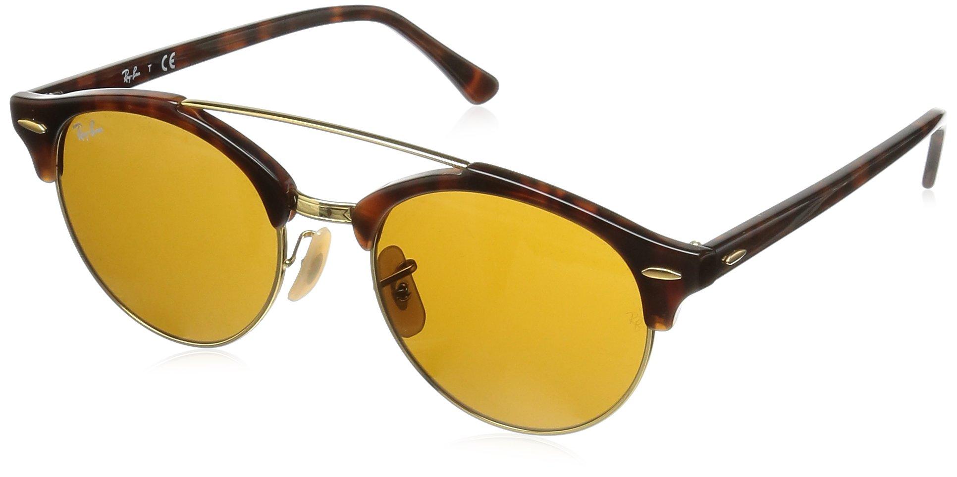 Ray-Ban Clubround Double Bridge Sunglasses (RB4346) Tortoise/Brown Plastic - Non-Polarized - 51mm