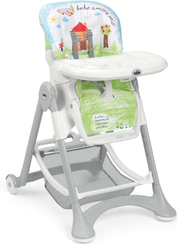 CAM Trona Campione – Silla de bebé con crecimiento y versátil ajustable, incluye bandeja, cojín lavable, acolchado suave y cinturón ajustable, para niños Caseta Talla:geöffnet: 62 x 84 x 109 cm