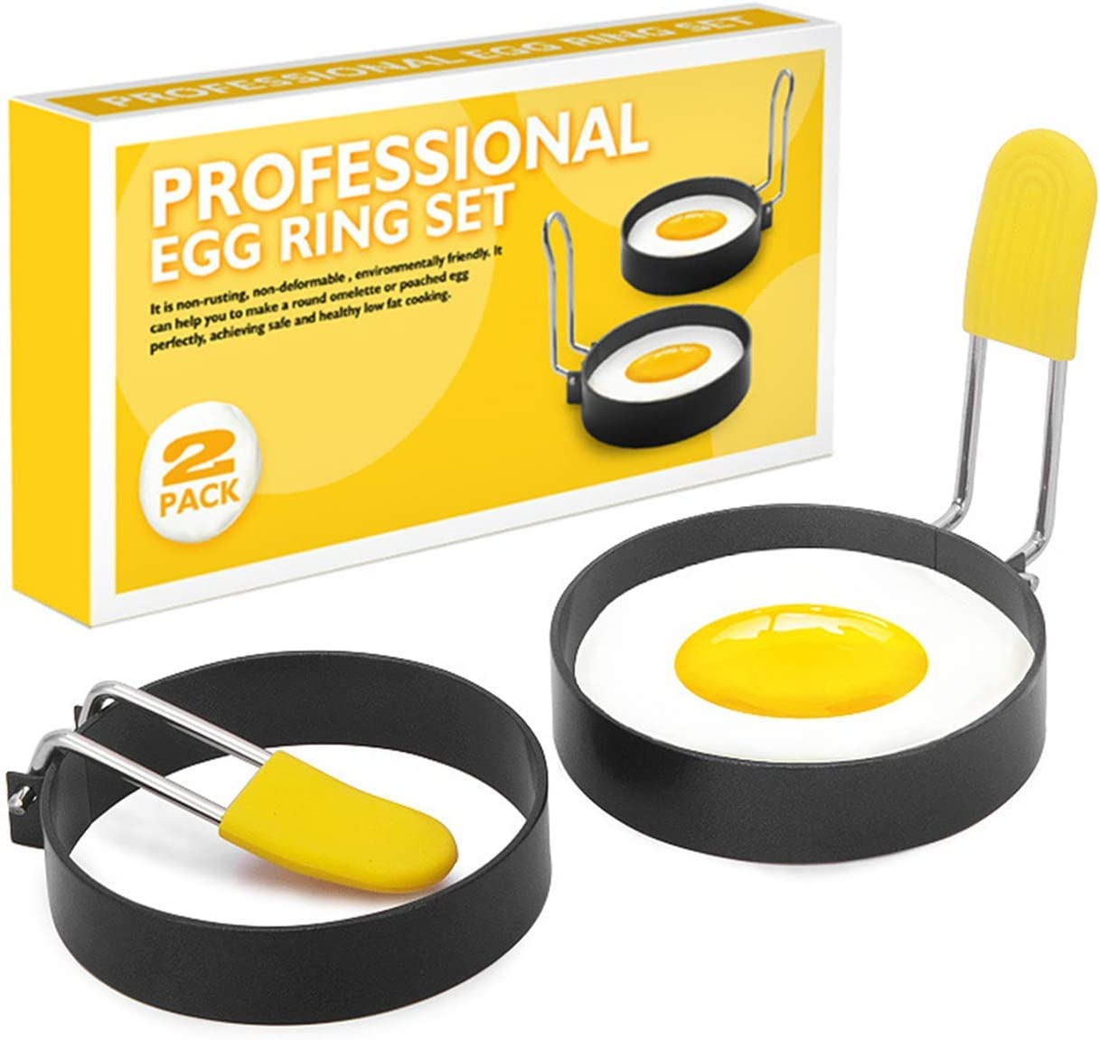 Egg Ring, English Muffin Ring, Egg Molds, Ring Mold for Cooking, Egg Mcmuffin, Flip Cooker, Egg Cookers, Egg Cooking Rings, Round Egg Ring, Stainless Steel Omelet Mold (2 Pack)