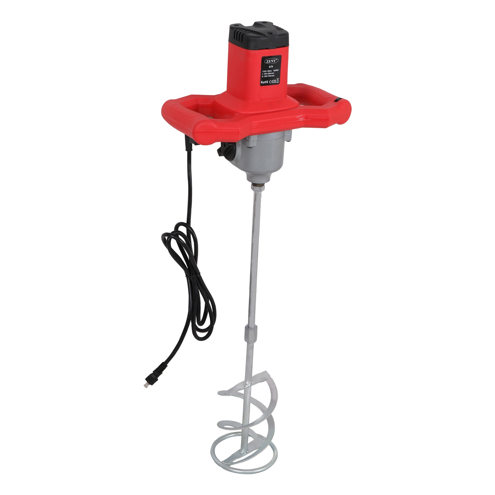 ZENY Concrete Mixers 1600W Adjustable 7 Speed Handheld Electric Concrete Cement Mixer Thinset Mortar Grout Plaster Cement Mixer Stirring Tool AC 110V by ZENY