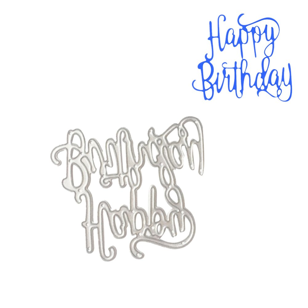 Bluelans Cutting Dies Stencil Metal Mould Template for DIY Scrapbook Album Paper Card Making (Happy Birthday Cutting Dies) by Bluelans (Image #1)