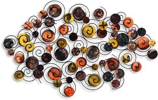 World Art TW60183 Quadro in metallo Vortice Di Spirali Metallo 70x117x6 Cm