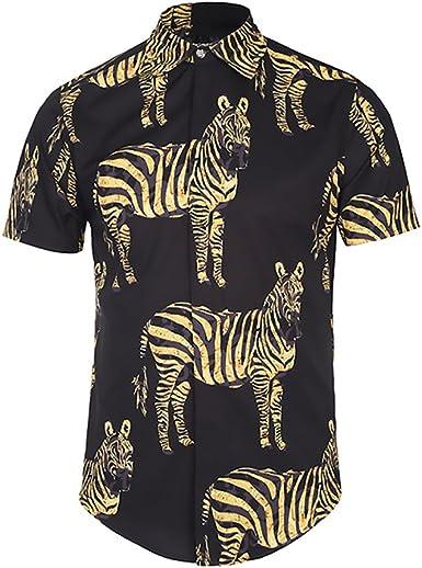 Camisas Hombre Manga Corta Cuello Solapa Blusas Verano Hipster Vintage Hippies Moda Cebra Estampadas Camisa Tops: Amazon.es: Ropa y accesorios