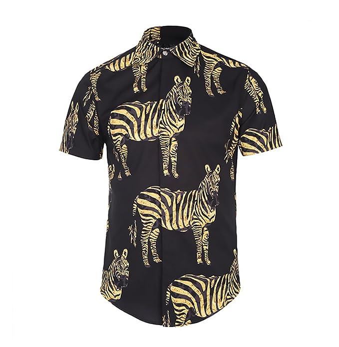 Camisas Hombre Manga Corta Cuello Solapa Blusas Verano Hipster Vintage Basicas Hippies Moda Cebra Estampadas Camisa Tops: Amazon.es: Ropa y accesorios
