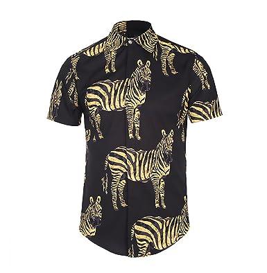 8061a97075fa BOLAWOO Hemden Herren Sommer Kurzarm Revers Herrenhemd Zebra Animal Print  Vintage Mode Hipster Casual Hemd Hemdblusen Bluse  Amazon.de  Bekleidung