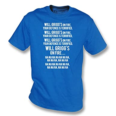 e68bcdc9 Will Grigg's On Fire (Northern Ireland/Wigan) T-Shirt: Amazon.co.uk: Sports  & Outdoors