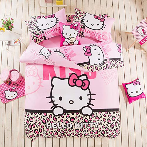 Warm Embrace Kids Bedding Set 100% Natural Cotton Girls Bed in a Bag Hello Kitty,Duvet/Comforter Cover and Pillowcase and Fitted Sheet and Comforter,Queen Size,5 Piece