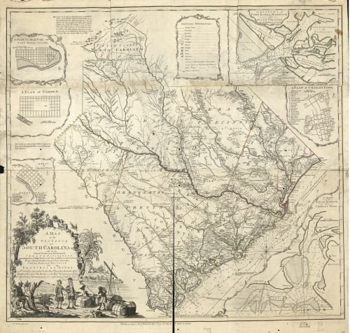 1773 Map A map of the province of South Carolina with all the rivers,creeks,bays,inletts,islands,inland navigation,soundings,time of high water on the sea coast,roads,marshes,ferrys,bridges