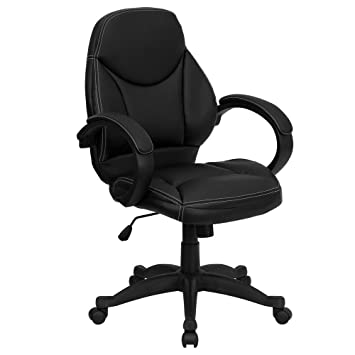 Flash Furniture Mid Back Black Leather Contemporary Executive Swivel Chair  with ArmsAmazon com  Flash Furniture Mid Back Black Leather Contemporary  . Flash Furniture Mid Back Office Chair Black Leather. Home Design Ideas
