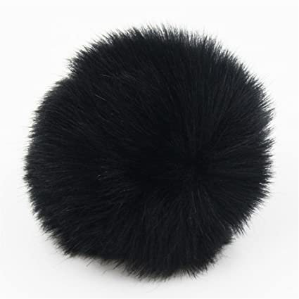 72a58425b59 Amazon.com  2pcs DIY Faux Fur Pom Pom Ball - 3inch- for Knitting Hat  Supplies (Black)