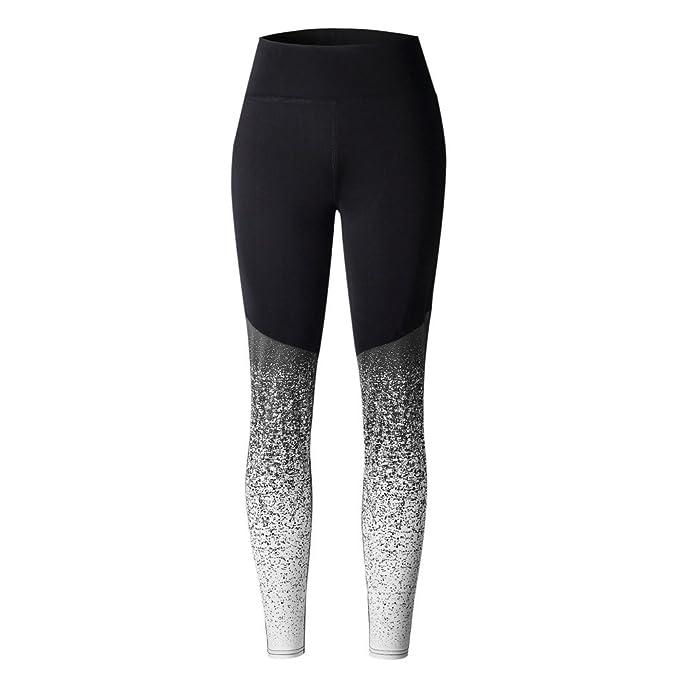 MEIbax Leggings Deportivos Pantalones de Mujeres de Gradiente Estampado Skinny Pantalones Fitness Gym Yoga de Cintura Alta Gimnasio Entrenamiento ...