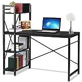 Popamazing 4 Tier Bookcase Storage Shelves Computer Desk Home Office Desk Student PC Workstation Laptop Table (Black)
