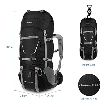 TOMSHOO 75L Internal Frame Hiking Backpack,Trekking Bag with Rain Cover for Camping,Hiking,Mountaineering