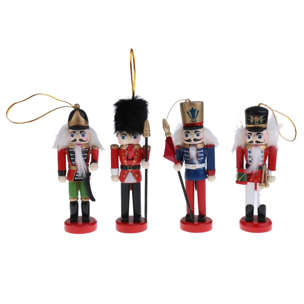 Jili Online 4Pcs Exquisite Colorful Wooden Nutcracker Figurines Handcrafts Christmas Ornaments Friends Children Gifts House Office Home Decor and Display 12cm