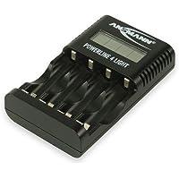 ANSMANN Powerline 4 Light Ladegerät Akku/Leichte & kompakte 4-fach Ladestation für Mignon AA & Micro AAA Akkubatterien/Mit LCD-Display und USB-Anschluss für Smartphone oder Kamera