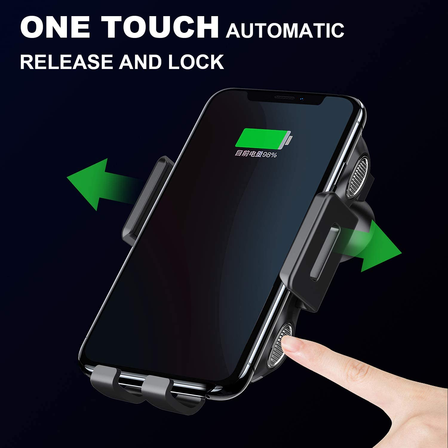 Work with Qi Receivers MyMAX Latest Auto-Clamping Touch Sensor 10W Qi Fast Wireless Car Charger Mount Dashboard Air Vent Car Phone Charging Holder and Cradle for iPhone or Any Smart Phone Samsung