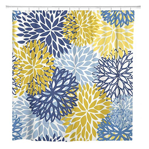 ArtSocket Shower Curtain Green Spring Floral Blue Yellow and Navy Chrysanthemum Flowers Home Bathroom Decor Polyester Fabric Waterproof 72 x 72 Inches Set with Hooks